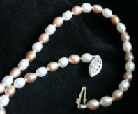 5mm White and Pink Oval Freshwater Cultured Pearl Necklace with Silver Clasp